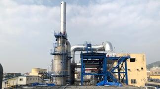 The regenerative catalytic oxidizer at Sinopec Qilu's styrene-butadiene rubber plant uses Topsoe's CATOX catalyst.IMG_2443-5