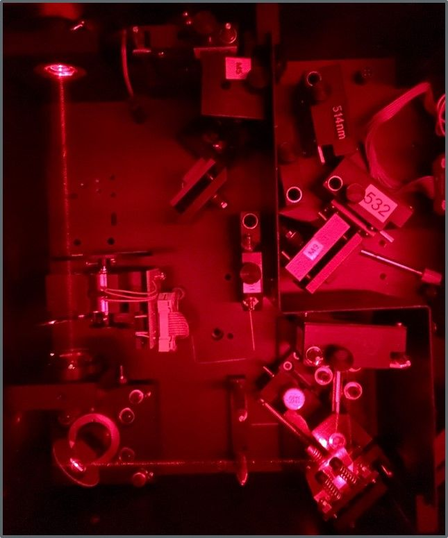 Top view into the optical path of the laser beam when coupled into the microscope.